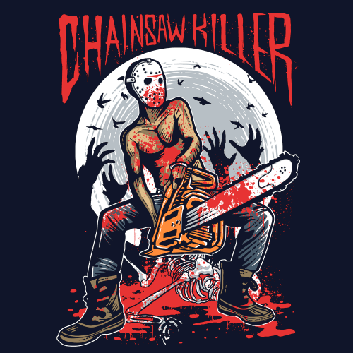 chainsaw-killer design ready for printing