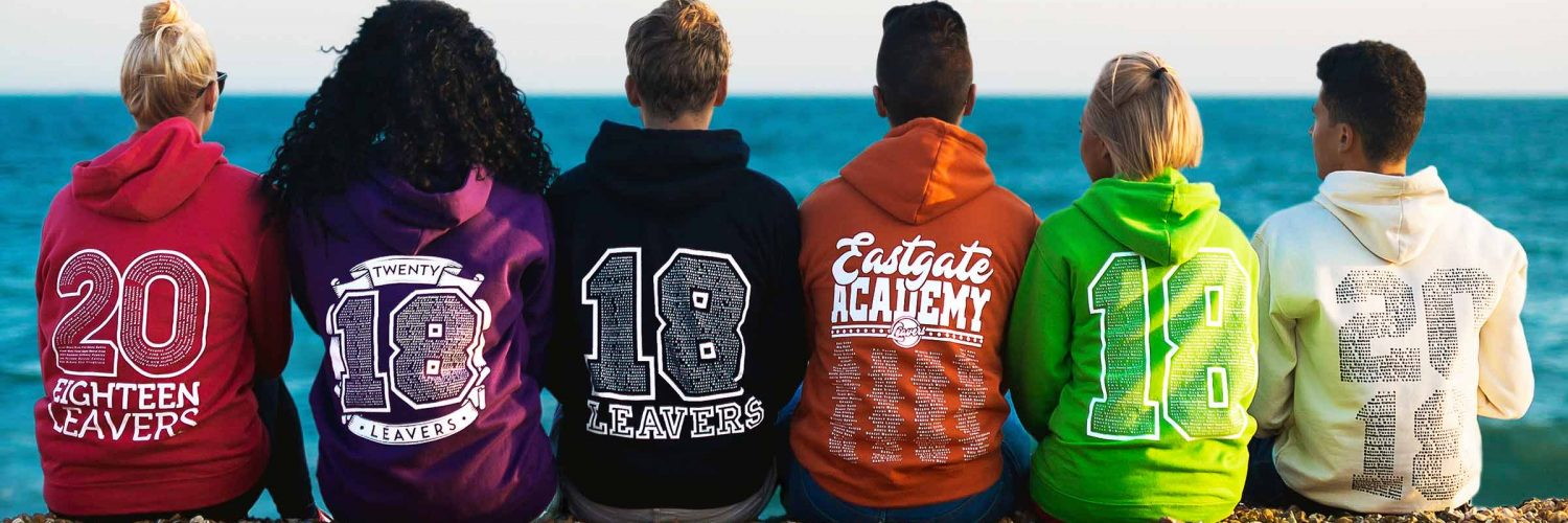 School, college and university leavers hoodies 2018. 18 and 2018 back print designs with names number on beach in a variety of colours.